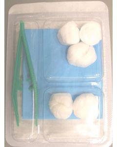 Set de pansement N°2, 1 pince+ 5 boules +1 champ + 1 blister 3 alvéoles