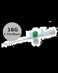 Cathéter à site d'injection à ailettes, VERSATUS W, 16G gris, 1,75x45mm, boîte de 50