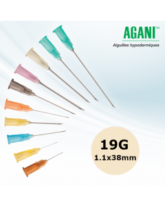 Aiguilles Agani Terumo 19G 1.1x38mm, Crème, Boîte de 100