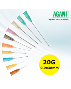 Aiguilles Agani Terumo 20G 0,9x38mm, Jaune, Boîte de 100