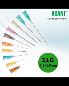 Aiguilles Agani Terumo 21G 0.8x25mm, Vert, Boîte de 100