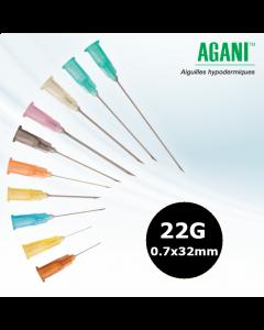 Aiguilles Agani Terumo 22G 0.7x32mm, Noir, Boîte de 100