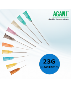 Aiguilles Agani Terumo 23G 0.6x32mm, Bleu, Boîte de 100