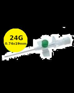 Cathéter à site d'injection à ailettes 24G jaune 19mm VERSATUS W Terumo, boîte de 50