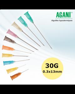 Aiguilles Agani Terumo 30G 0,3 x 13 mm, vert clair, bte de 100