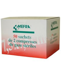 Compresses de Gaze Stériles MEFRA  7.5 cm x 7.5 cm  boîte de 25 sachets de 2 compresses