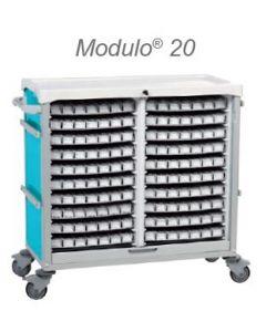 Chariot Modulo 20 plateaux de piluliers bleu - nu