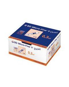 Seringue à insuline 0.3ml BD® MICRO-FINE PLUS avec aiguille 30 G - 0,30 x 8 mm, Boîte de 100