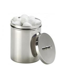 Boîte à coton avec pommeau en inox. Diamètre : 110 mm. Hauteur : 140 mm.