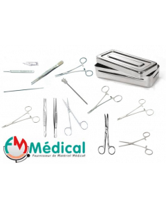 Boîte de petite chirurgie en Inox , 13 instruments chirurgicaux