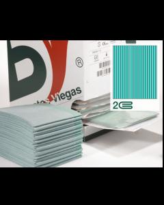 Champs stériles non-tissés/PE, 2 plis VERTS  non troués, sans adhésif 45 cm x 75 cm , boîte de 50
