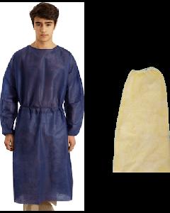 Blouse de soins en non-tissé bleu opaque, avec poignets élastiques, Sachet de 10
