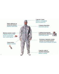 Combinaison de protection 3M capuche blanche+rouge taille XL