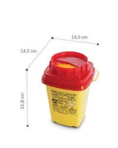Container, collecteur d'aiguilles 2L DASRI  AP 14,5 x 14,5 x 19,3 cm