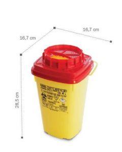Container, collecteur d'aiguilles 4L DASRI AP, base carrée 16,7 x 16,7 x 28,5cm