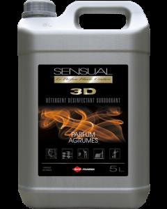 SENSUAL 3D - Détergent désinfectant surodorant - Parfum Agrumes , Bidon de 5  Litres