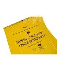 Sacs poubelles DASRI 50L jaune, logo infectieux, épaisseur 24µ par 500