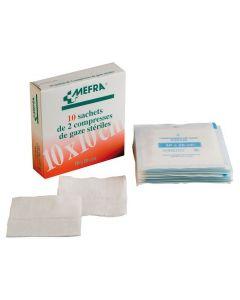 Compresses de Gaze stérile MEFRA (25 sachets de 2) 10 cm x 10 cm