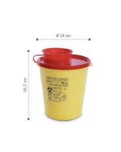 Container, collecteur d'aiguilles 1,5L DASRI AP Ø 14,5 x 16,5 cm, base ronde