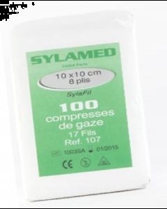 Compresses de gaze non stériles, 12 plis, 17 fils, 7.5x7.5 cm, sachet de 100 compresses