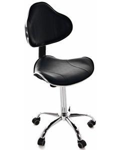 Tabouret ergonomique avec dossier, Noir
