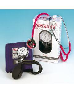 Coffret Tensiomètre double tub manopoiren manometre sur le brassard et stéthoscope rouge